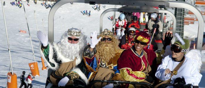 Los Reyes Magos tampoco se pierden la temporada de esquí en Cerler.