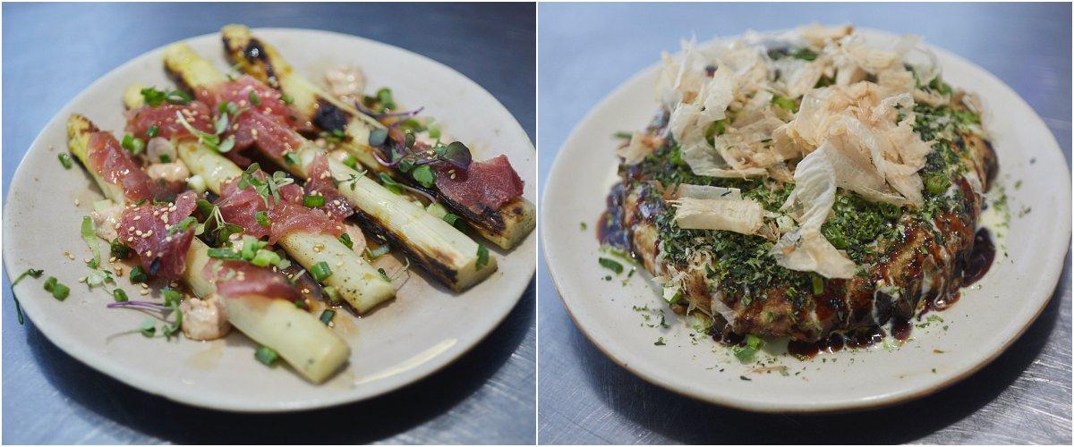 Restaurante 'El Taller'. Platos espárragos y okonomayaki.