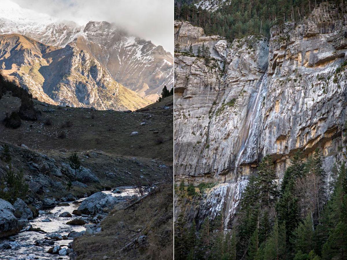 El río Ara arranca entre Bujaruelo y Otal. El Salto del Carpín es un espectáculo.
