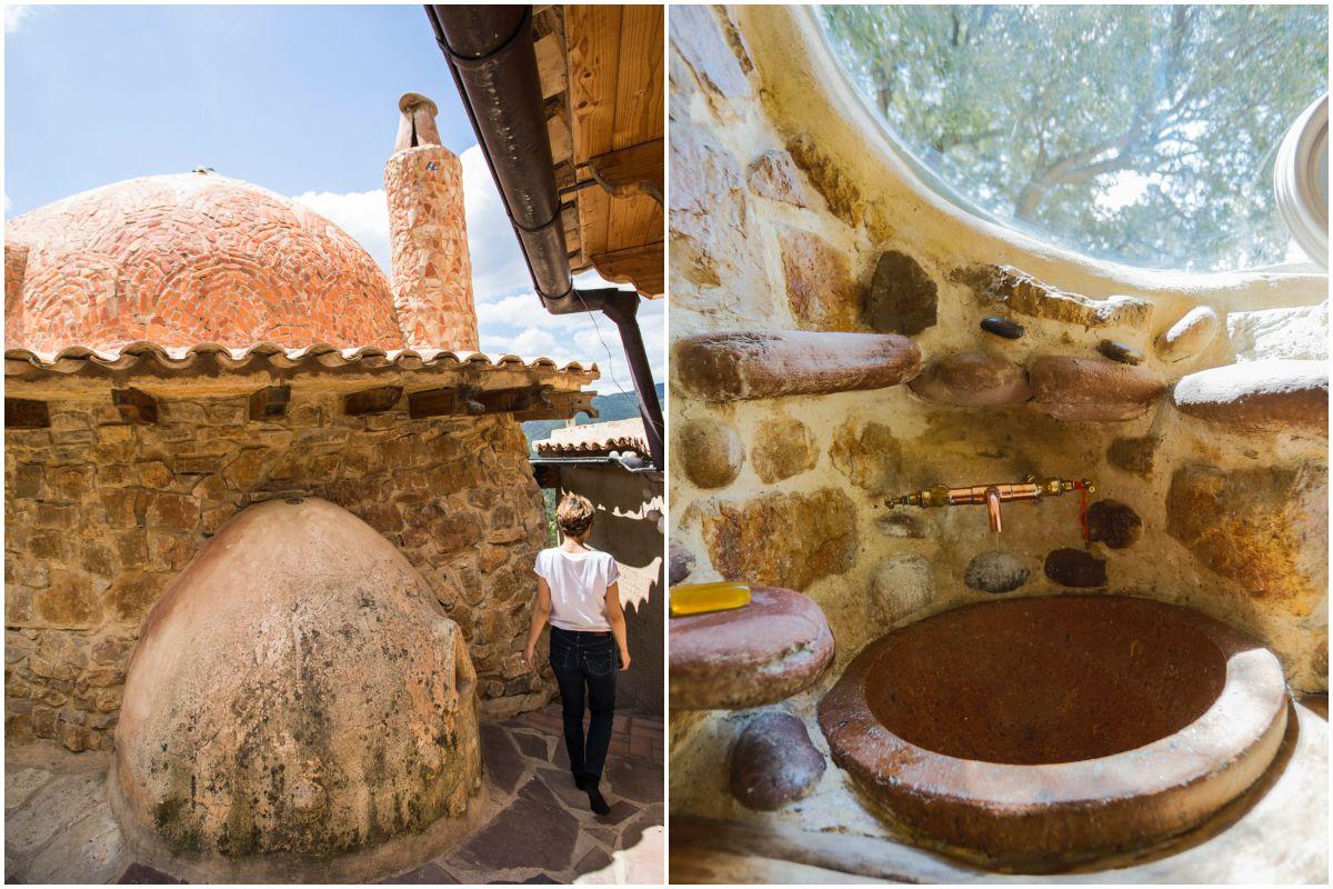 Detalles de diferentes espacios de las habitaciones construidos por los mismos propietarios de la casa rural Mar de la Carrasca, en el parque natural de Peñagolosa, Castellón.
