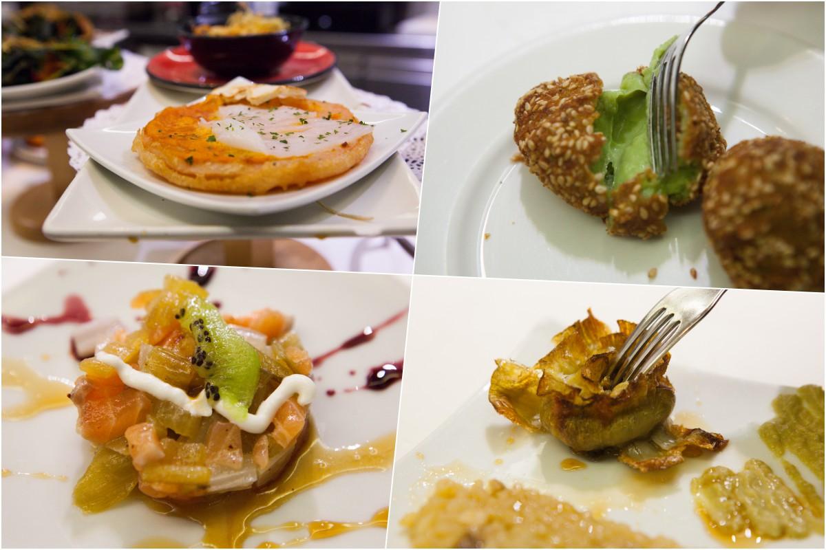 El huevo del José Luis, croquetas de borraja trufada, el tartar de salmón con trufa y la alcachofa con 'rissotto' de hongos.