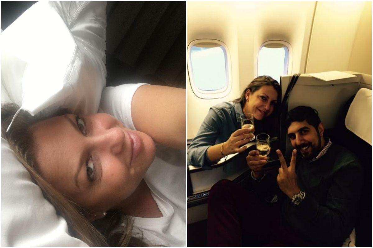 La cantante Niña Pastori tumbada en la cama de un hotel y en un avión brindando con su marido. Fotos: Facebook.
