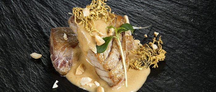 Mormo de atún rojo al pan frito y ogonogori, El Campero.