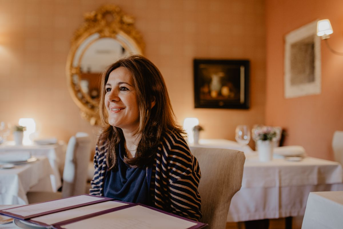 Luisa en el restaurante del hotel, 'Filigrana'.
