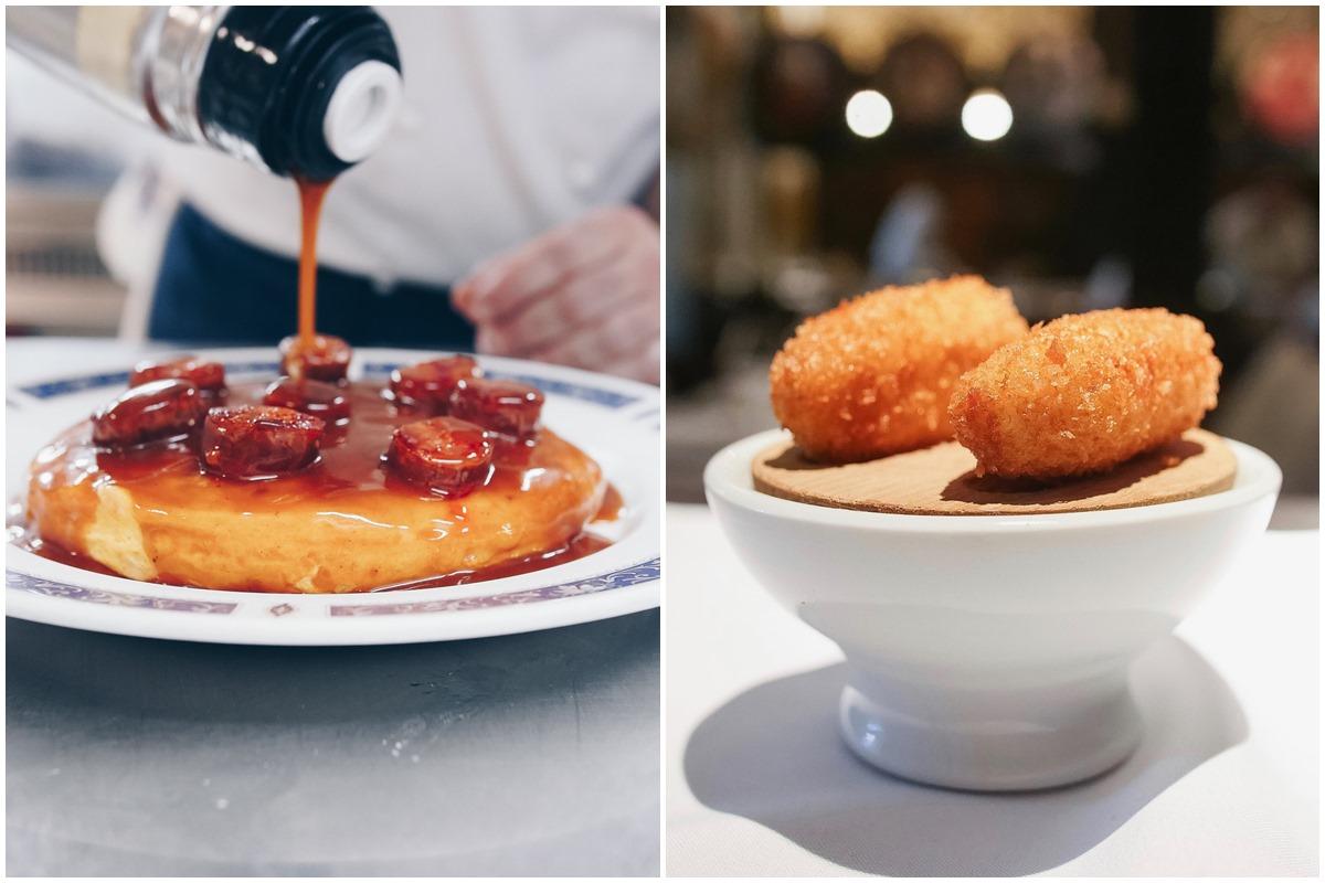 Las croquetas y la tortilla guisada con salsa de callos, chorizo ibérico y ali oli de 'Bodega El Riojano'. Foto: Facebook 'Bodega El Riojano'
