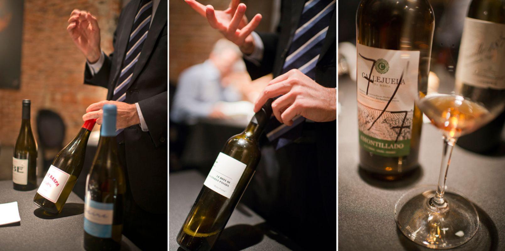 Juan Manuel explica la peculiaridad de cada uno de los vinos generosos que maridan con el menú.