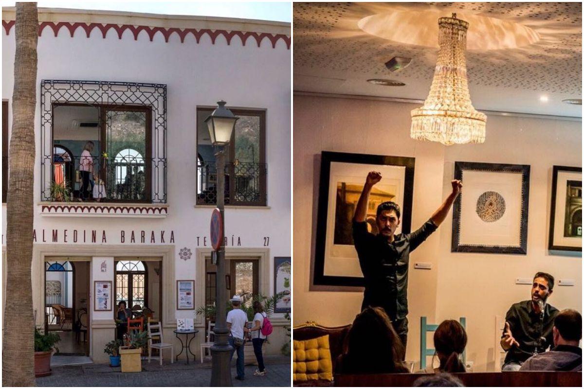 La entrada a la tetería La Almedina y una actuación flamenca en su interior.