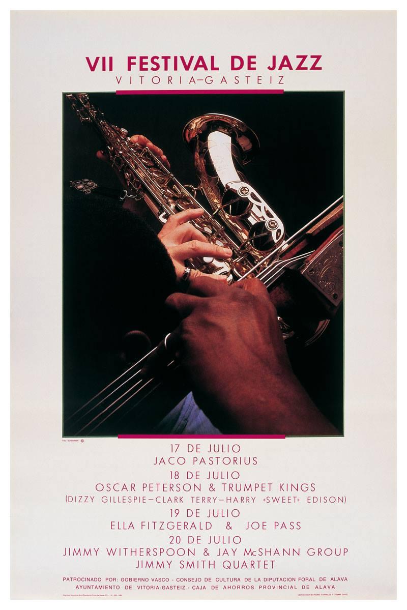 Ella Fitzgeral, entre otros, en el cartel del VII Festival de Jazz, en 1983 / Facebook Festival de Vitoria.