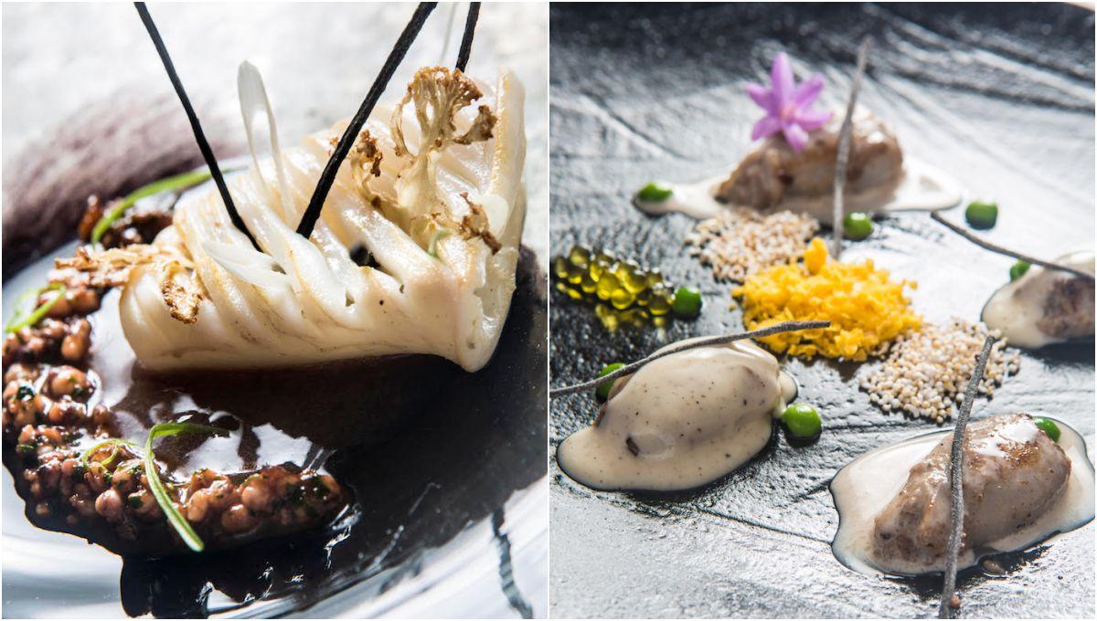 Calamar con mejillón y sopas mallorquinas; y Chipirón cuatro especies. Fotos: Arthur Leblanc.