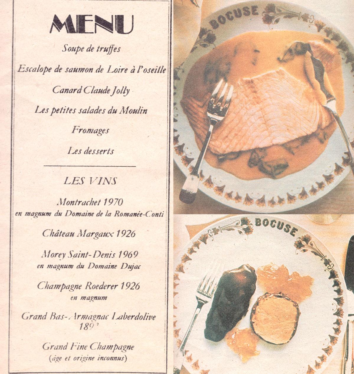El célebre menú y dos de sus platos, en las páginas de 'ABC'.