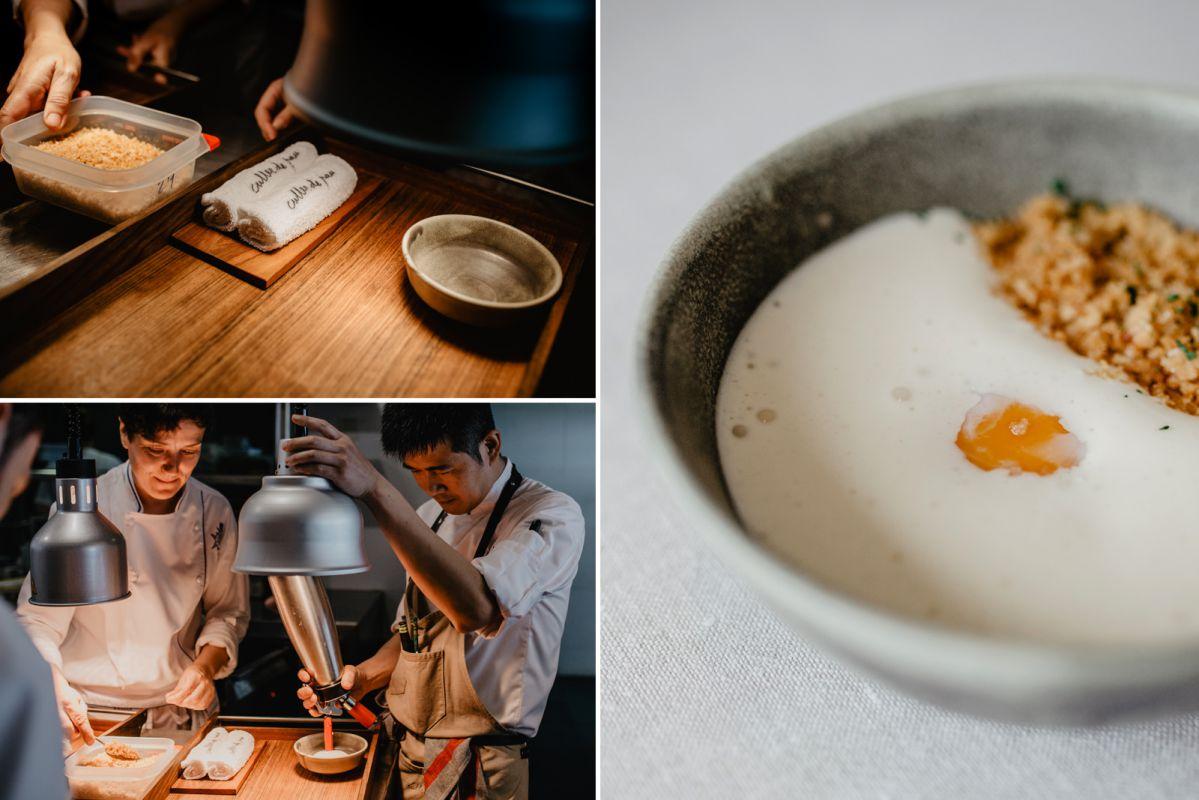 Composición de varios momentos del montaje del plato de huevo a baja temperatura, crema de queso San Simón y migas de pan, un clásico de 'Culler de Pau', en O Grove, Pontevedra.