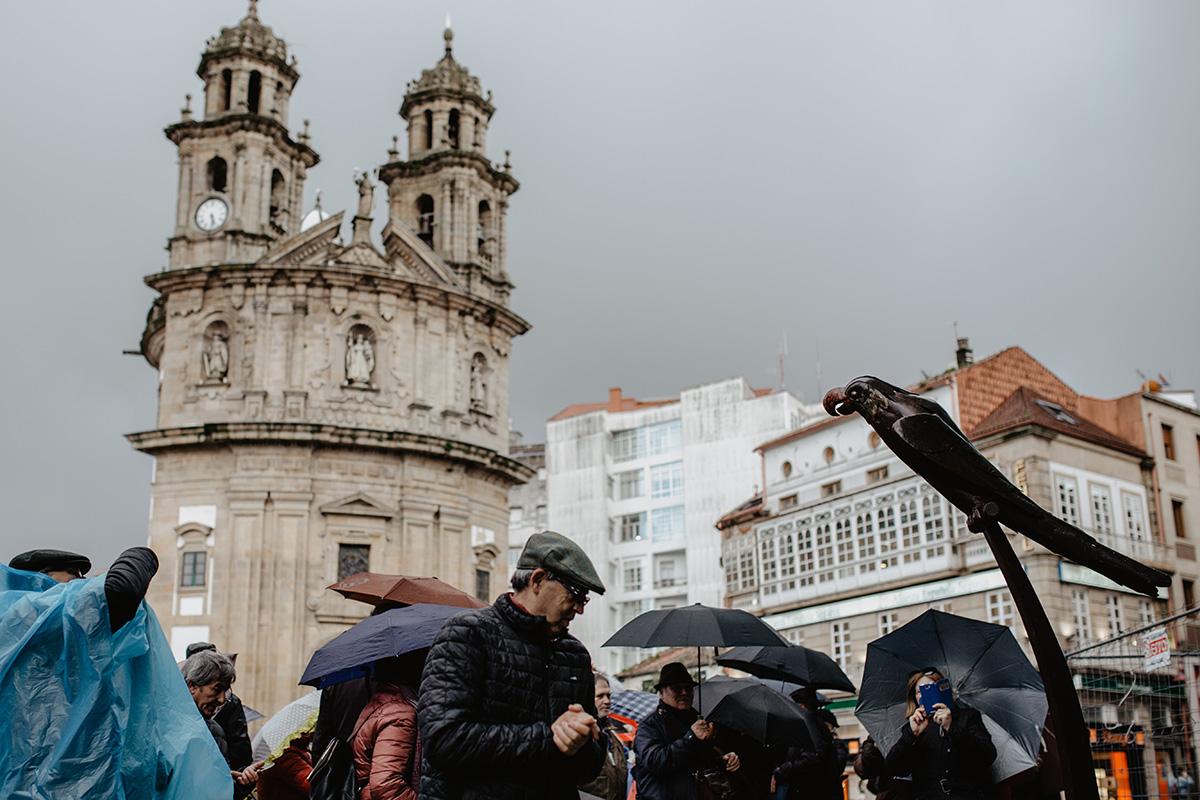 Estatua del loro Ravachol en el centro de Pontevedra.