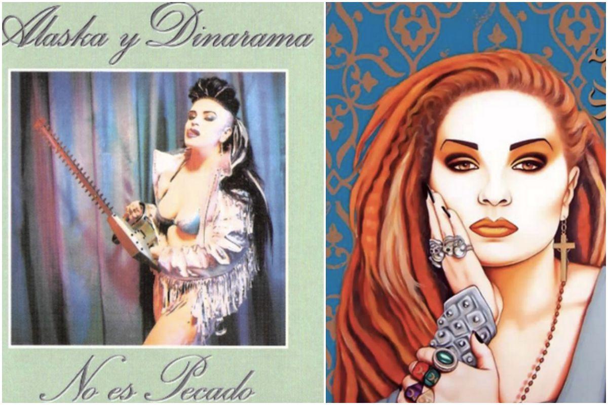 Pordad del disco de Alaska y Dinarama, No es pecado, y la portada de un recopilatorio, 30 años de reinado.