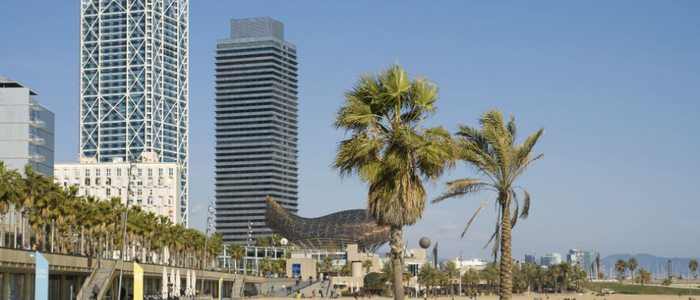 La ballena, de Frank O. Gehry, al final del paseo de Barcelona.