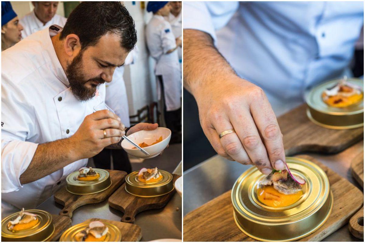 Alejandro Platero, chef del restaurante Saor, en Valencia, emplatando el escabeche del mercado de lonja calabaza y naranja sanguina.