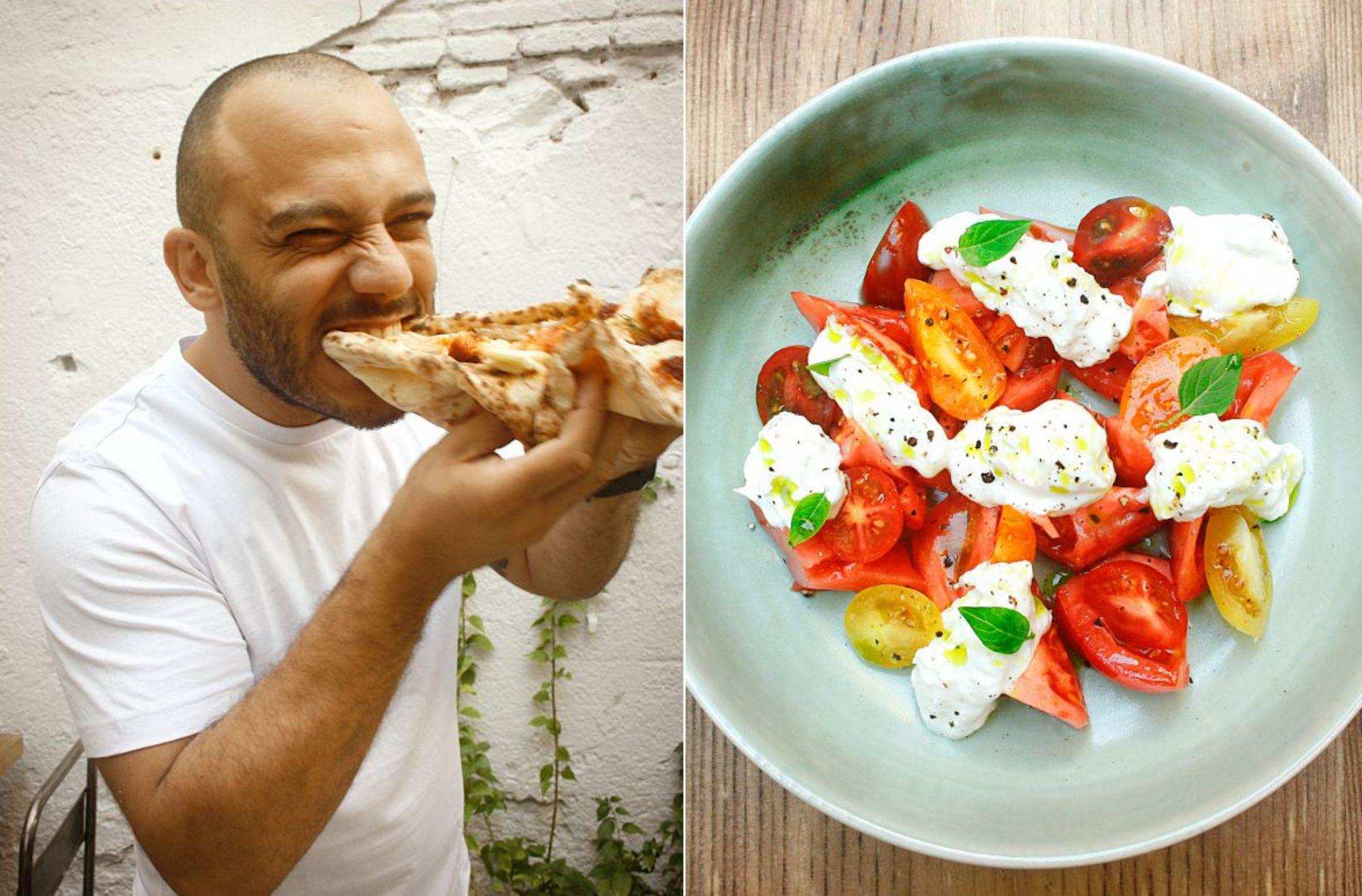 Rafa Panatieri comiendo una 'pizza' y una ensalada de tomates de temporada con 'stracciatella' y albahaca. Foto: Garden Pizza.