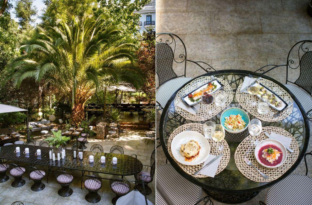 En la verde terraza del Palacio de Linares, sede de Casa de América, se puede comer, cenar y tomar la primera copa. Foto: Facebook.