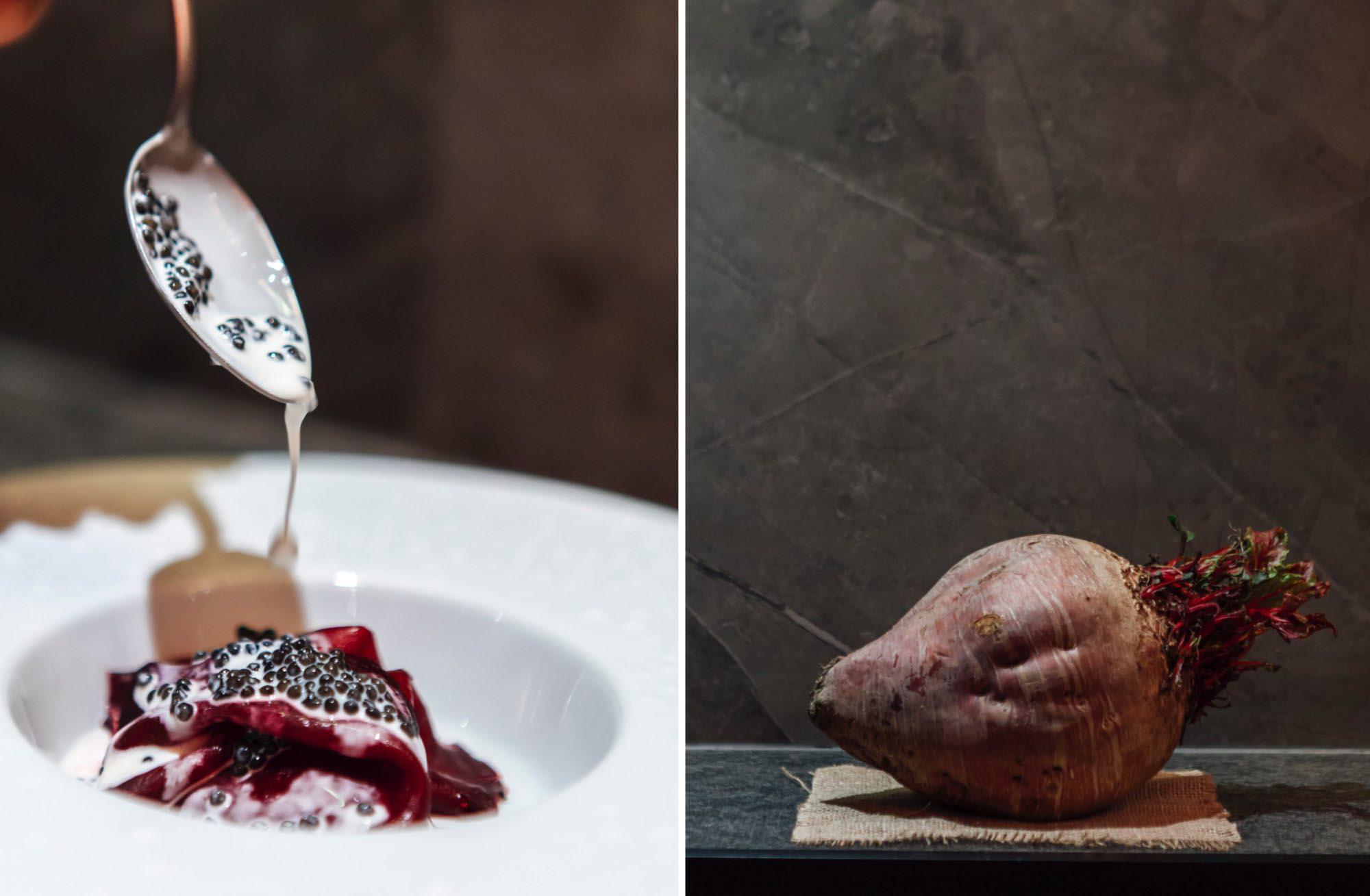 Remolacha Crapaudine cocida en costra de sal con salsa de caviar Osetra.