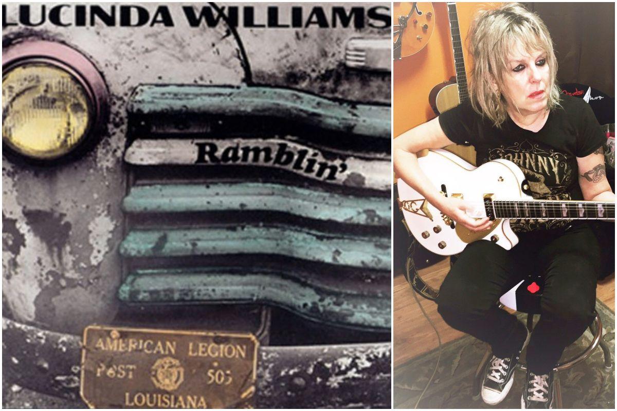 Portada del disco y la artista Lucinda Williams tocando la guitarra en un estudio de grabación.