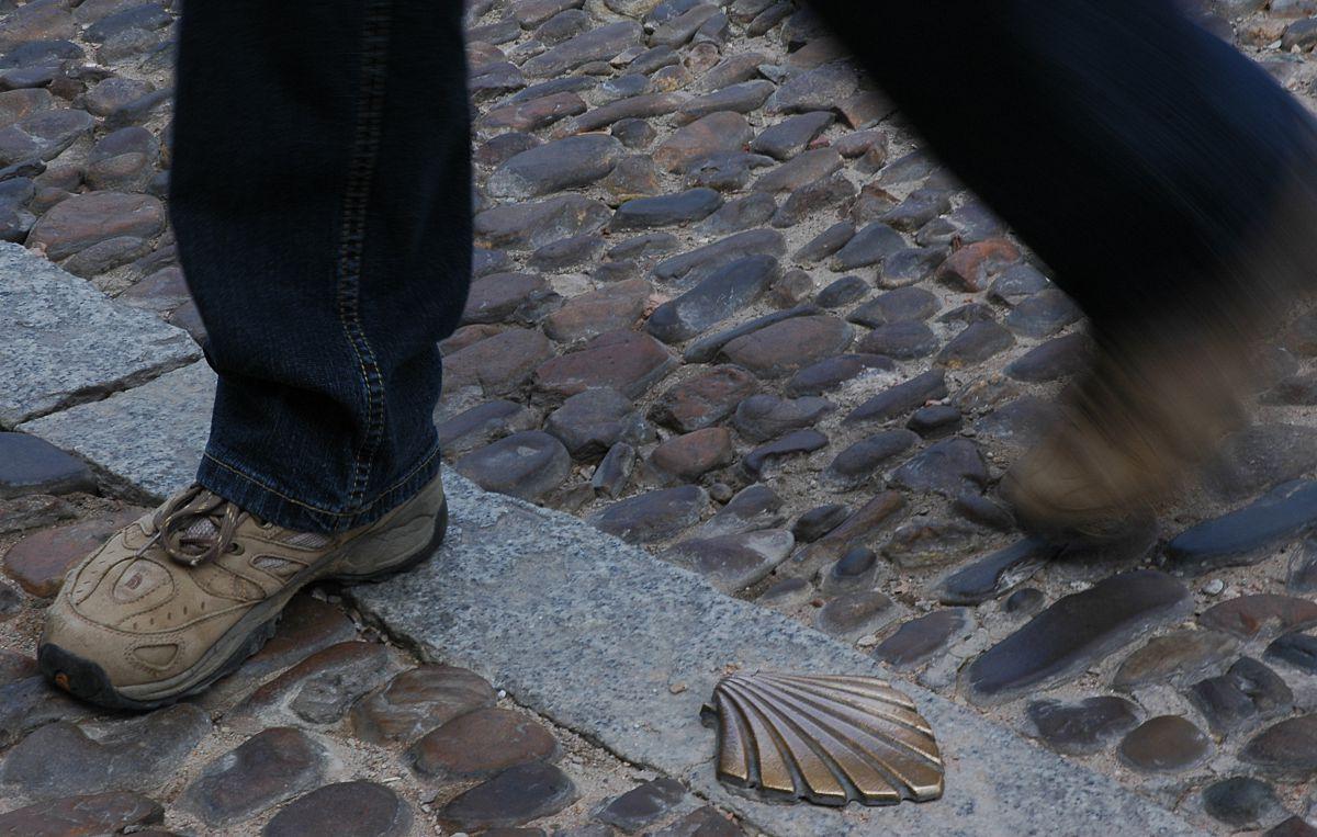 Detalle de la calzada del Camino de Santiago a su paso por Burgos. Foto: Alfredo Merino