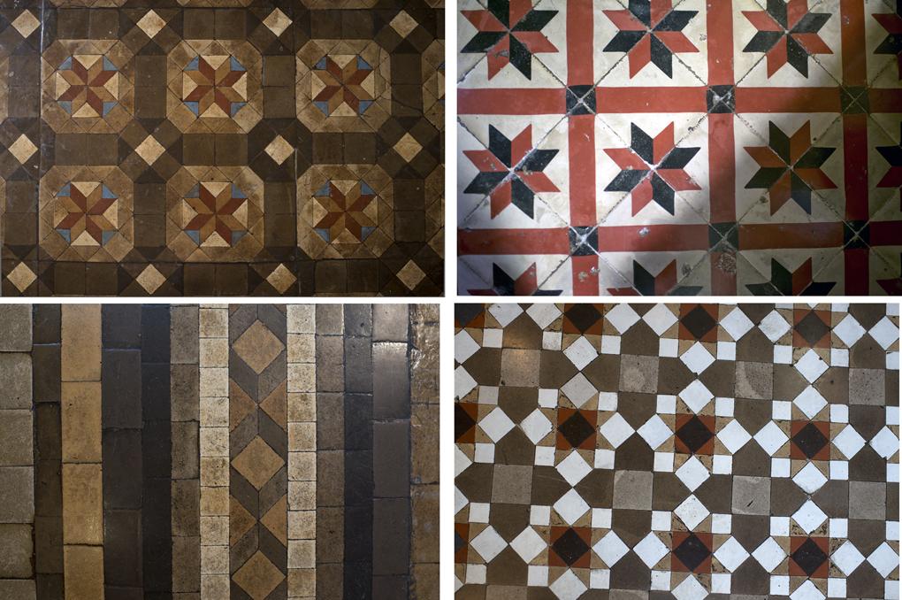 Collage de azulejos hidraúlicos originales que cubren los suelos de 'El cenador de Amós'.