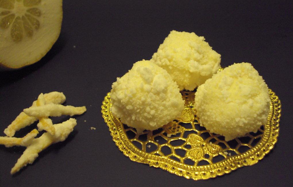 Trufas blancas con jengibre confitado.