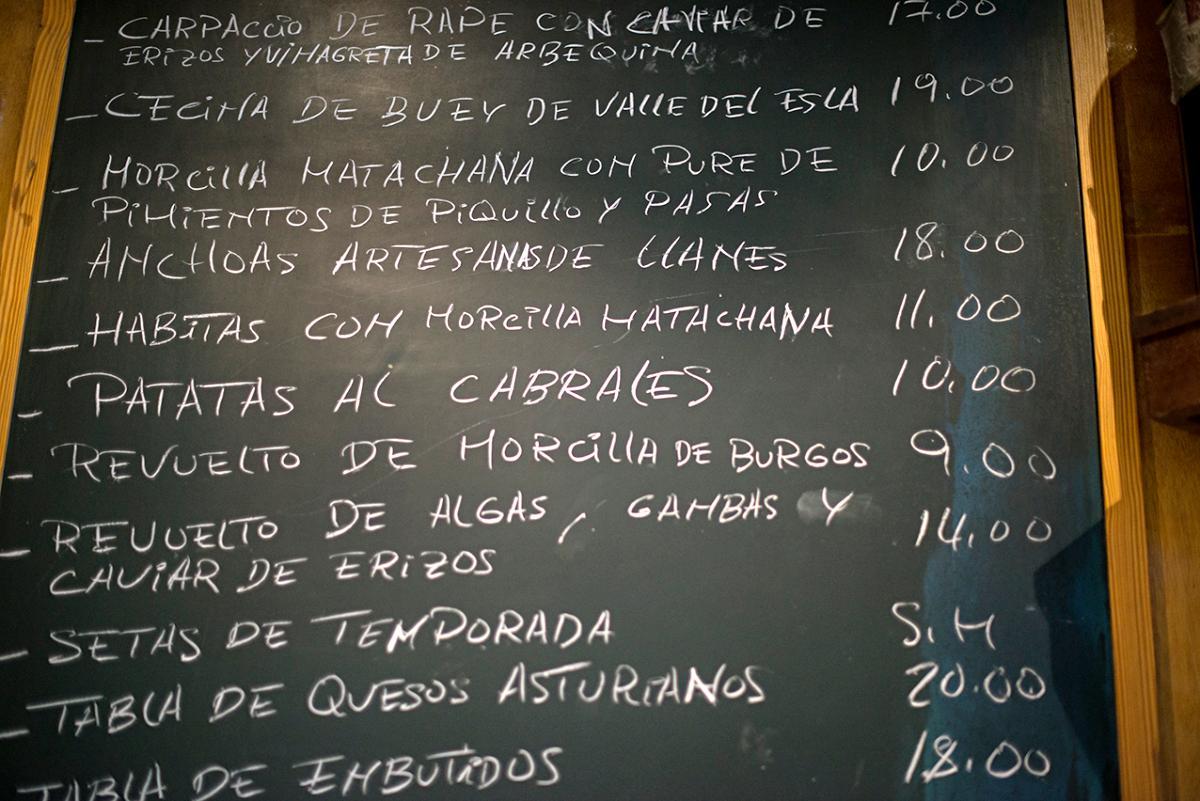 Restaurante Asturianos. Carta. Foto: Alfredo Cáliz