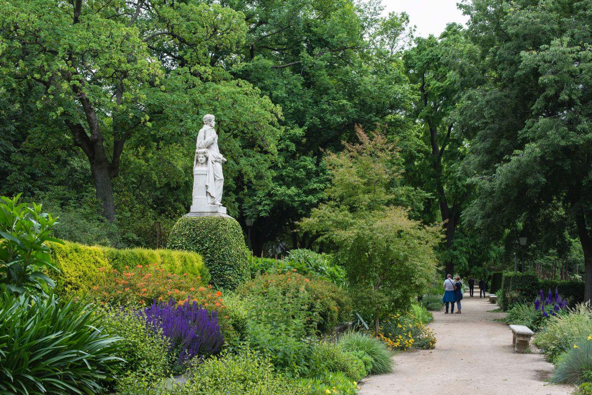 Avenida de las estatuas del Real Jardín Botánico de Madrid, con estatuas de los ex directores.