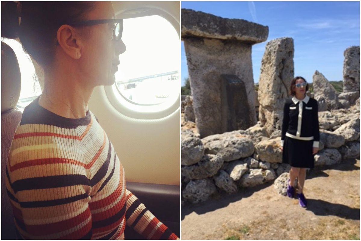 Luz Casal durante un viaje de trabajo y en Menorca haciendo turismo.