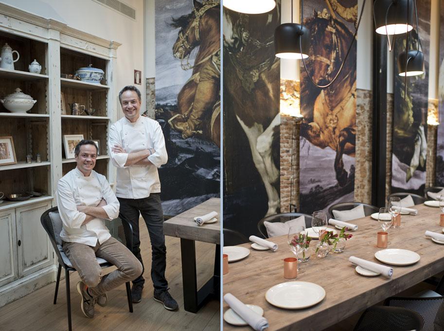 """Los cocineros junto al """"armario de la abuela""""."""
