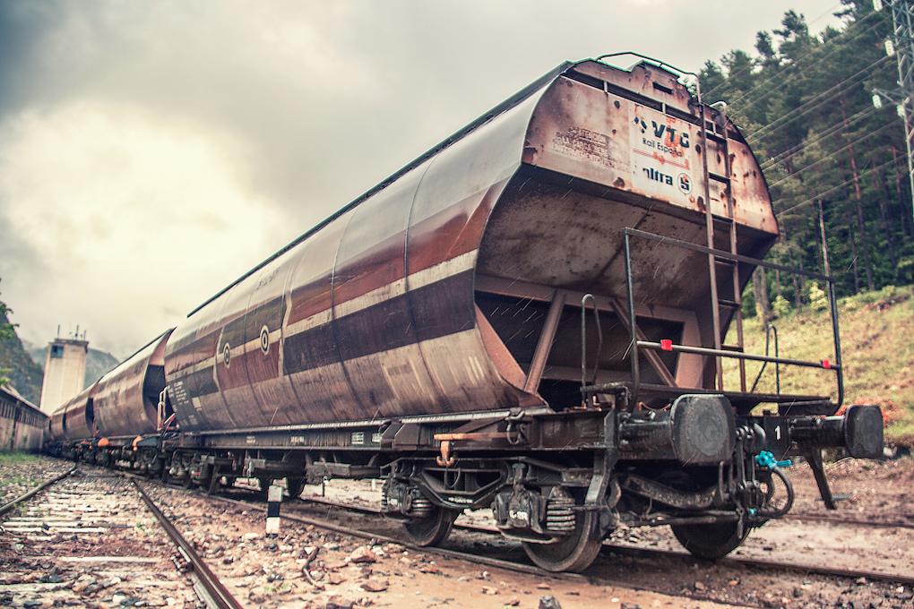 Vagón de cola de un tren de mercancias.