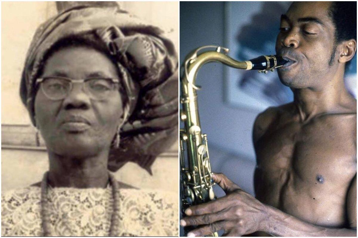 Un retrato de la madre de Fela Kuti, Funmilayo Ransome activista nigeriana, junto a otro del artista.