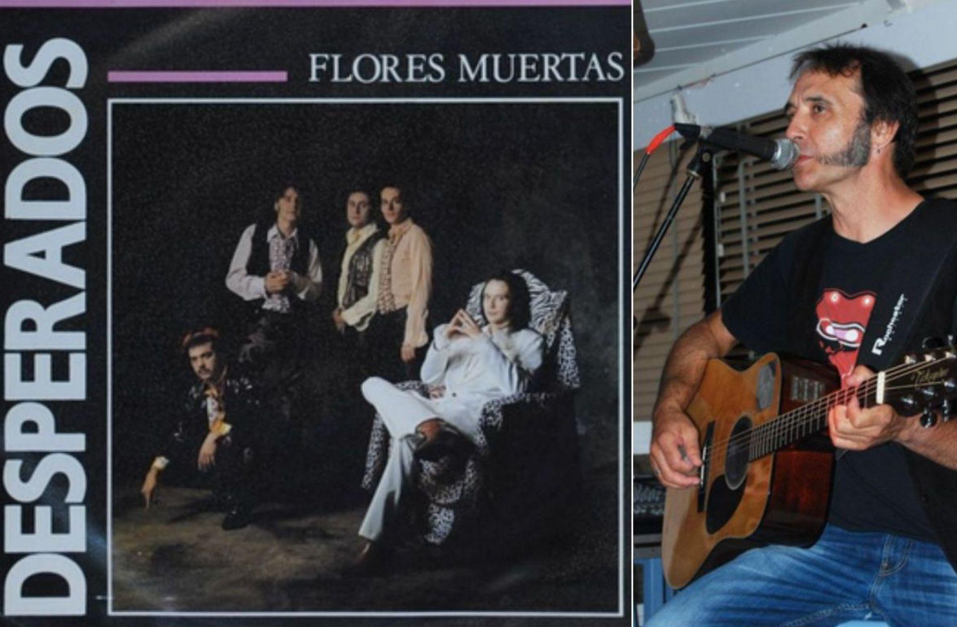 'Flores muertas' del grupo madrileño Desperados a finales de los 80, y Guille Martín, el alma de la banda. Fotos: Facebook.