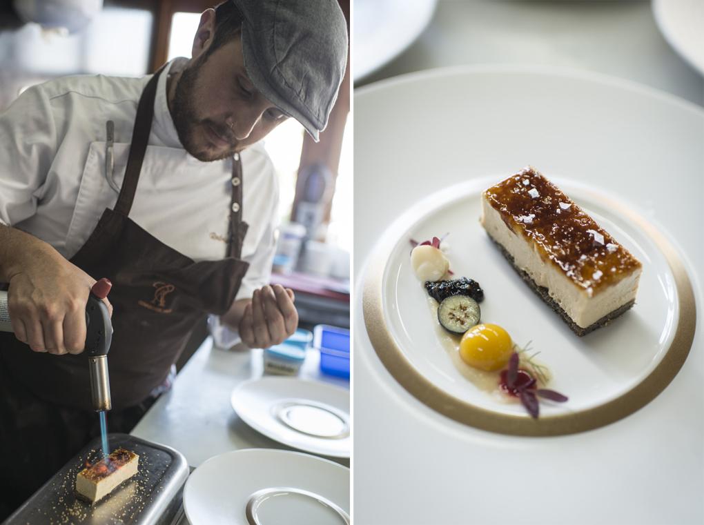 Caramelizando el azúcar del 'Perfecto de foie'