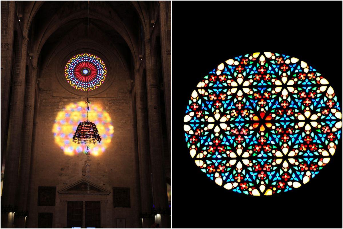 Los juegos de luces de las vidrieras culminan en el 'espectáculo del 8'. Foto: Catedral de Palma.