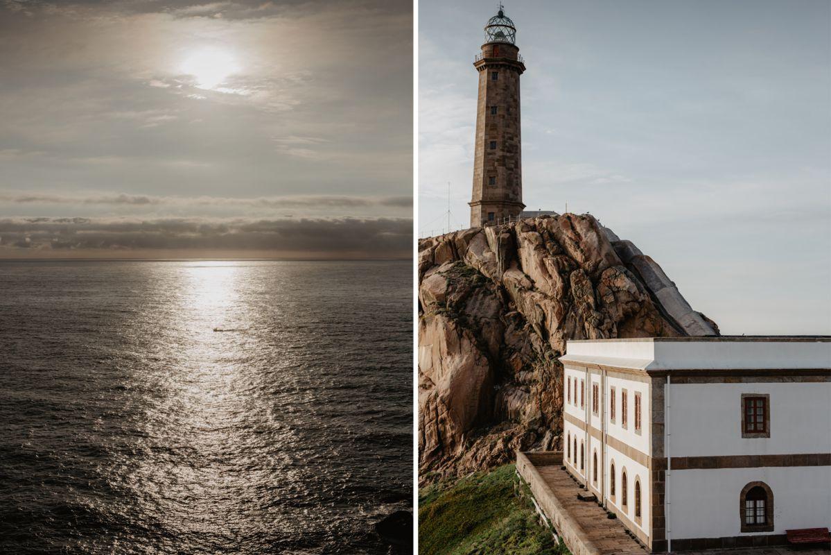 El sor reflejado en el mar y las vistas desde el Cabo Vilán (Costa da Morte, A Coruña).