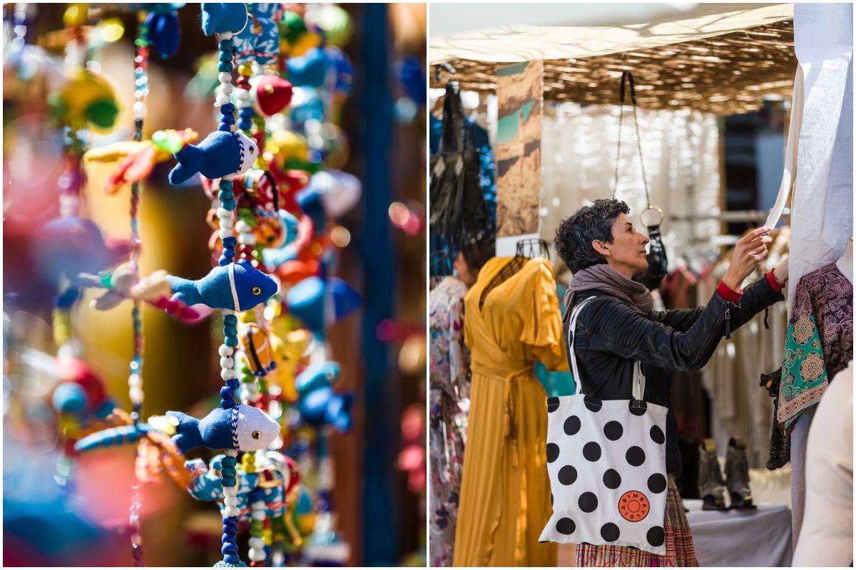Detalle de colgantes de tela y una chica mirando un puesto del mercadillo de Las Dalias, Ibiza.
