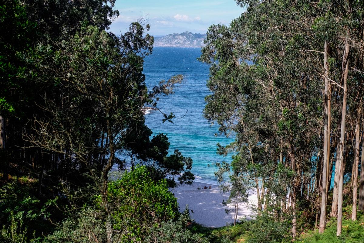 Entrada a la Playa de Figueiras (conocida como la de los Alemanes), la única nudista de Cíes.