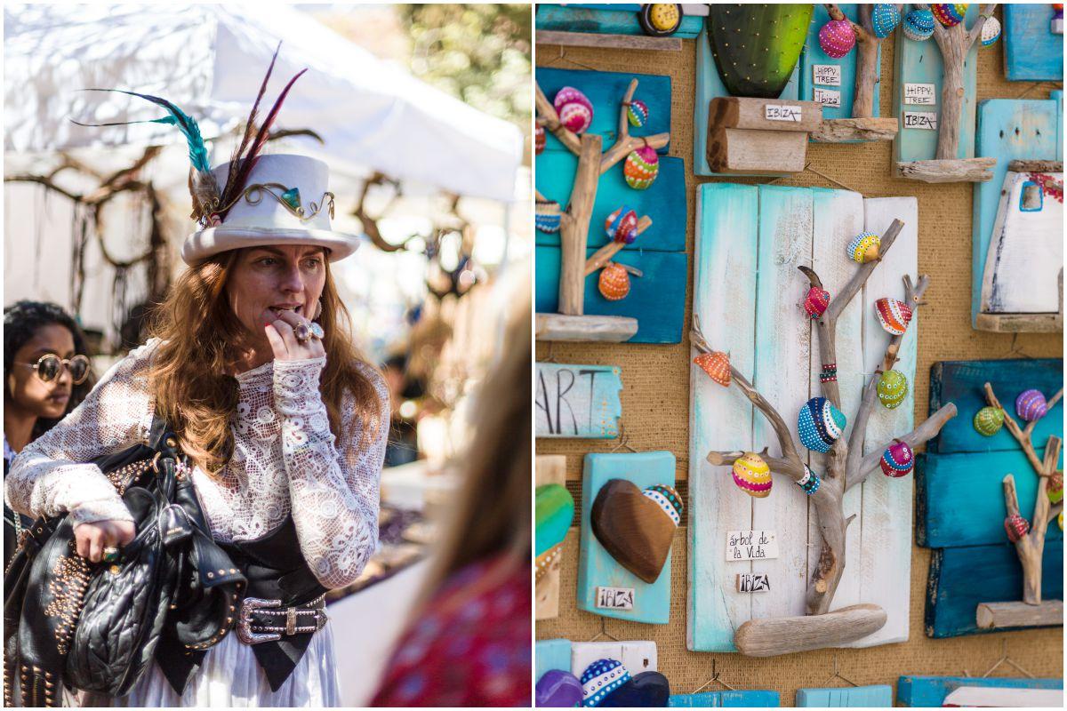 Una chica ataviada de forma pintoresca pasea por el mercadillo de Las Dalias, en Ibiza, y artesanías hechas con materiales reciclados de la playa.
