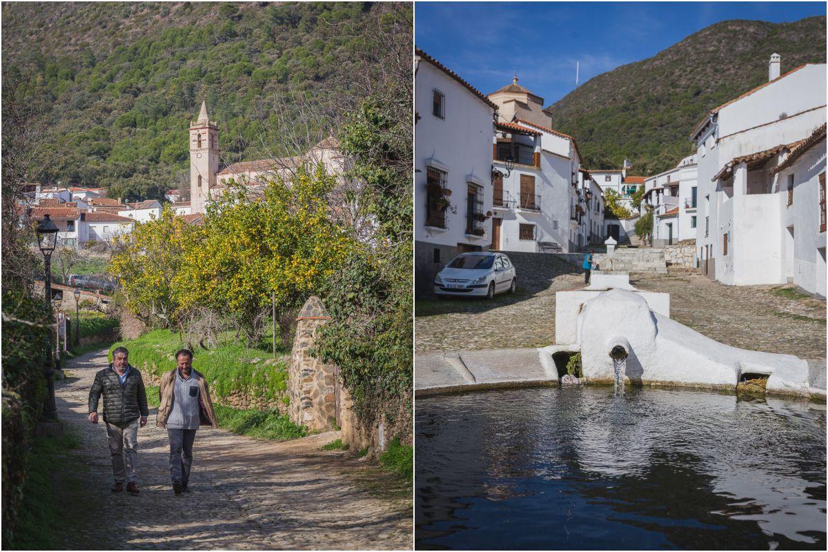 Paseando por un callejón de la localidad onubense de Linares de la Sierra, y la Fuente Nueva, un lavadero circular.