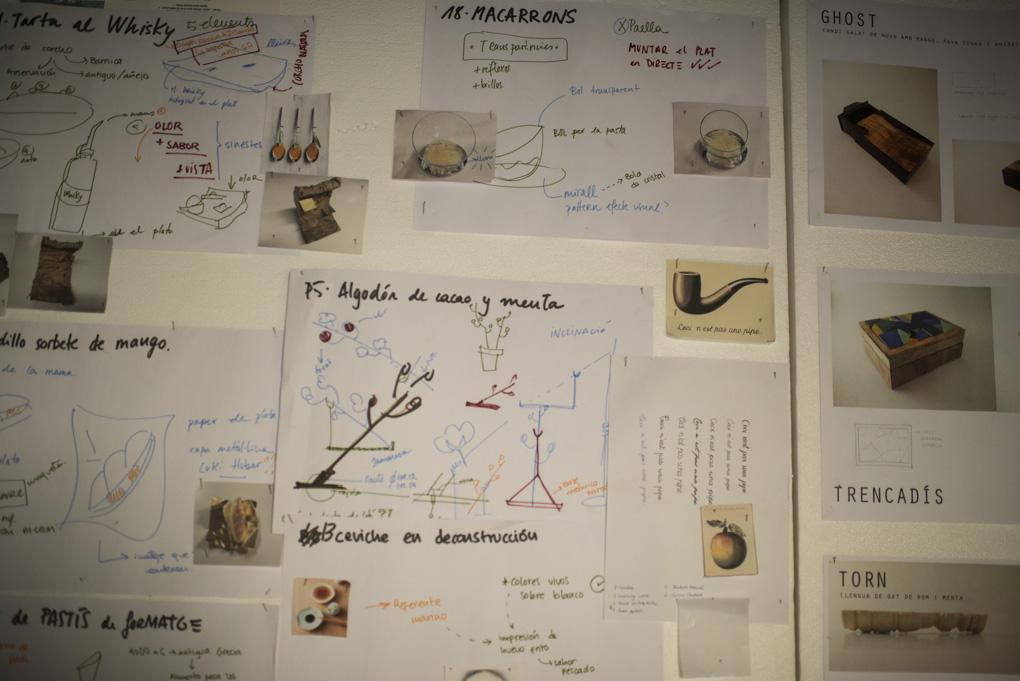 Notas y dibujos sobre la elaboración y presentación de los platos
