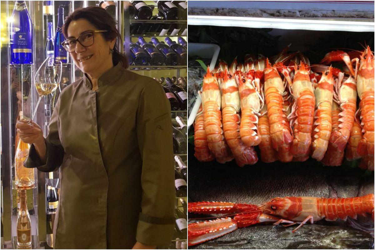 Marisol Domínguez y detalle del marisco excepcional que trabajan en 'D'Berto'. Fotos: Restaurante D'Berto.