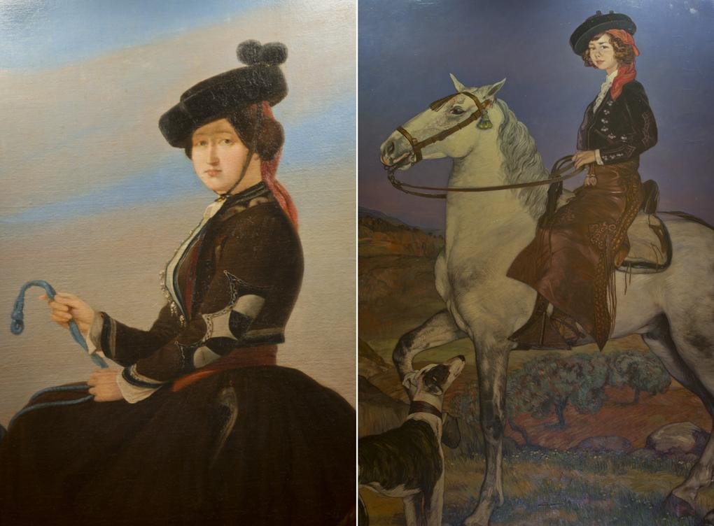 Los retratos ecuestres de Eugenia y Cayetana de Alba presiden el comedor principal de Las Dueñas.