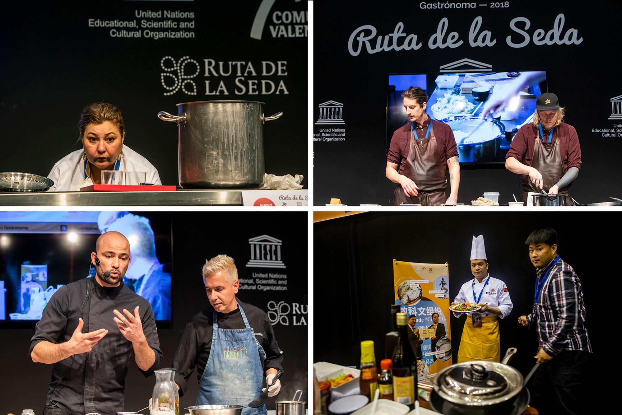 Gulsem Sokmen, del restaurante 'Hatay' (Turquía); Kristoffer Andersson, de 'Ostersund' (Suecia); Bruno Ruíz y Federico Guajardo de 'Aticcook', Denia; y Wong Yuk Shan, de Macao.