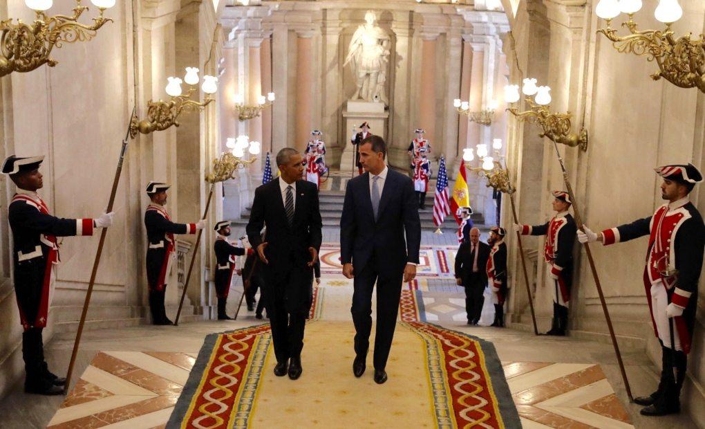 Obama en su visita al Palacio Real. Foto; EFE