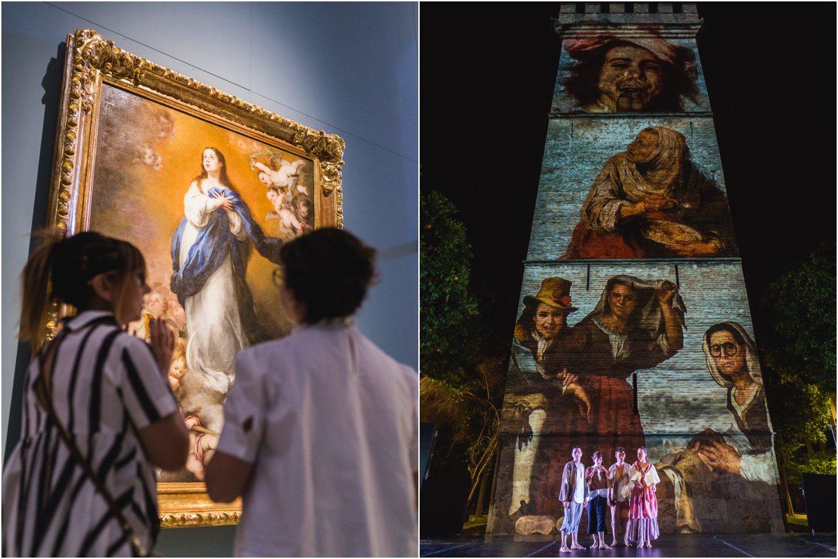 Unas visitantes observan una Inmaculada de Murillo, en el Museo de Bellas Artes de Sevilla y proyecciones de los pícaros de los cuadros del pintor sobre la Torre de Don Fadrique, en Sevilla.