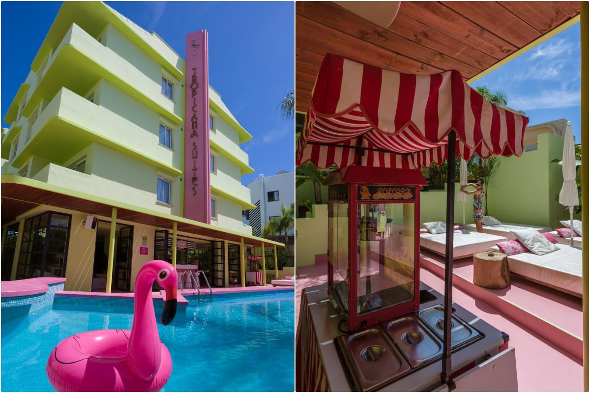 Zonas para relajarse en la piscina del hotel Tropicana (Ibiza).