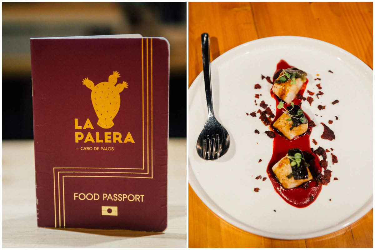 El pasaporte es ya toda una declaración de intenciones. A su lado, el bacalao negro sobre crema de remolacha, maní y uva de mar.