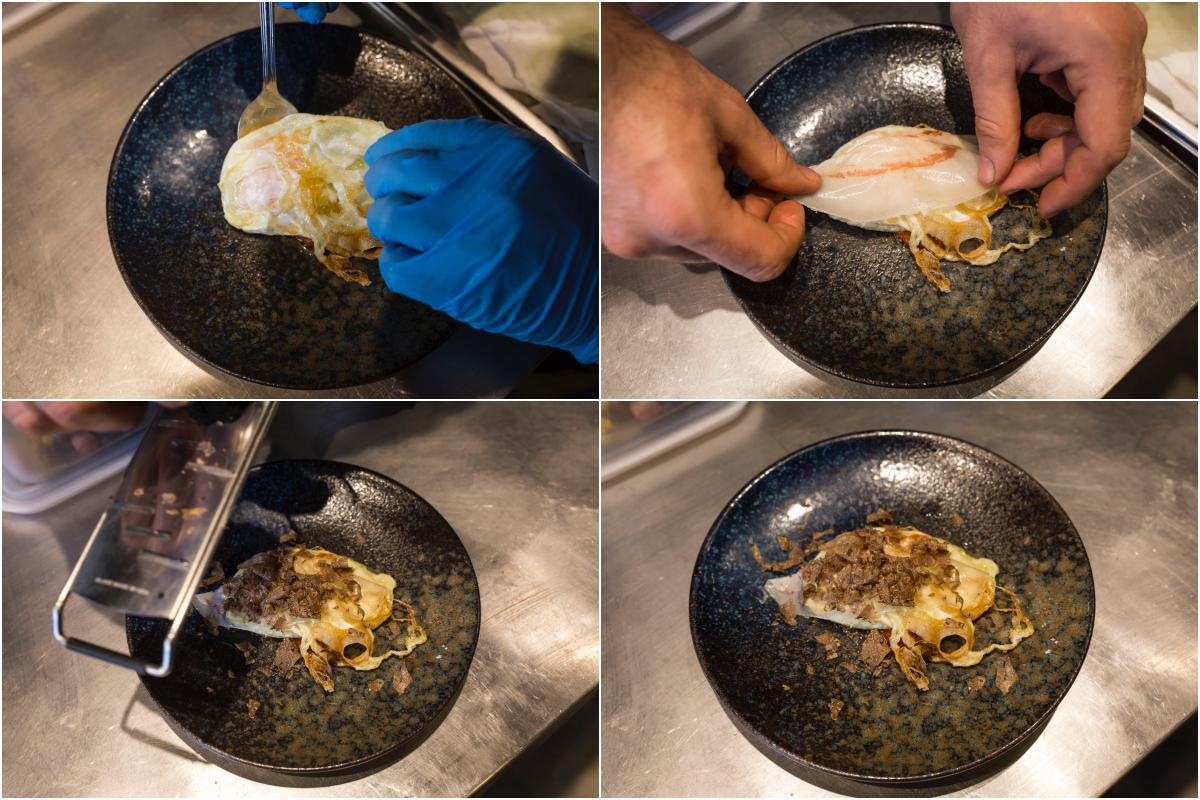 Huevo de corral frito con trufa, papada de cerdo ibérico y su sofrito.
