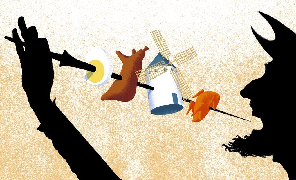 Ilustración de El Quijote  comiéndose un pincho. Ilustración: Pepe Medina.